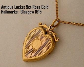 On Sale: 1915 Antique Locket Necklace Photo Locket 9ct Rose Gold Heart Locket Charm Keepsake Locket