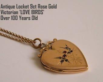 Gold Heart Antique Locket Necklace 9ct Rose Gold Locket Swallow Birds