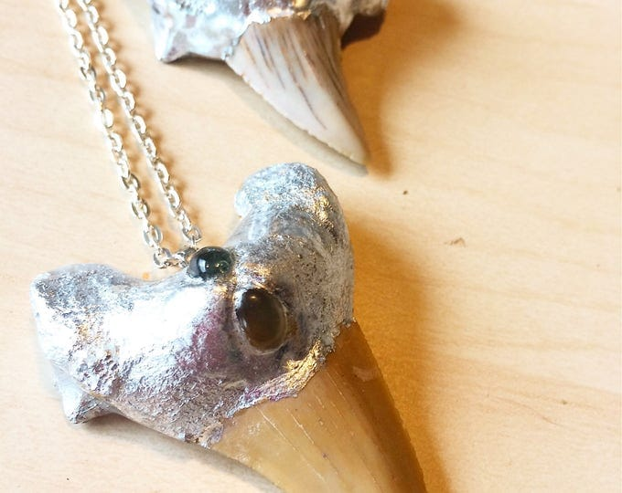 Shark Tooth Fossil Necklace with Smoky Quartz, Green Tourmaline, and Aquamarine, Shark Tooth Statement Necklace