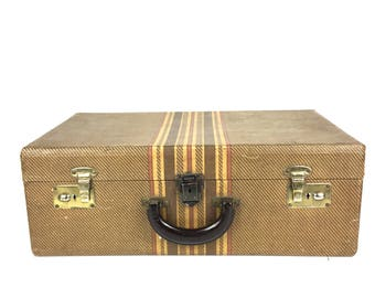 Vintage Suitcase Vintage 1940s Luggage Suitcase Tweed Suitcase Vintage Tweed Suitcase Liebermann Saginaw Michigan Luggage Suitcase