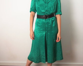 Vintage Green Silky  Midi Dress