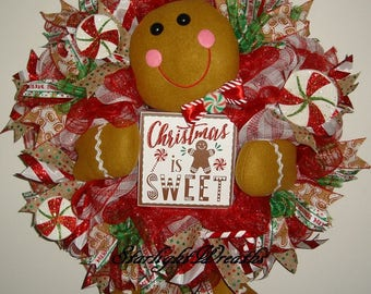 Gingerbread Boy Mesh Wreath, Gingerbread Mesh Wreath, Holiday Wreath, Christmas Wreath
