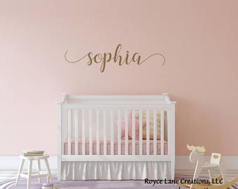 Baby Girl Name Nursery Decal / Gold Name Decal