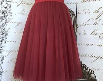 cherry tulle skirt, bordo outfit skirt, wine red tulle skirt for women party skirt gift for her handmade red tutu bridal shower tulle skirt