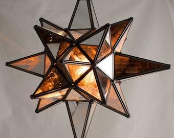 Star of Bethlehem, Moravian Star Pendant, Antique Mirror, Bronze Frame, 15x18