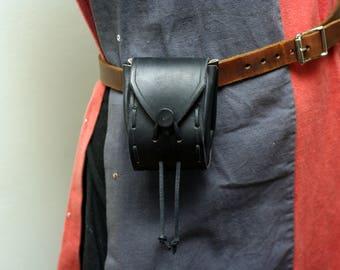 Medium Sized Black Leather Pouch