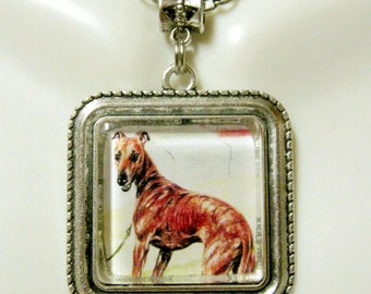 Greyhound racer pendant and chain  pendant with chain - DAP05-127