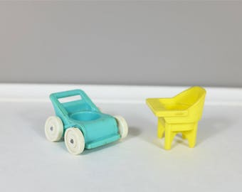 1972 Vintage Fisher Price - Fisher Price retro Little People stroller and high chair - Fisher Price nursery - Little People baby set