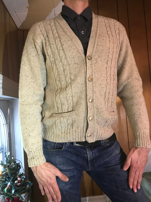 Jantzen Grandpa Cardigan Sweater/Oatmeal Marled/Medium/Cable knit/Wool Blend/Unisex/Boyfriend/1970s Front Pockets/Retro/Hipster