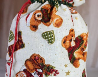 Pouch bag link pattern Christmas Teddy, small gift