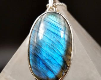 """Blue Flash Labradorite Sterling Silver Pendant - Flashy Stunner 2.44"""" Oval Crystal - Aura Protection Starseed Necklace"""