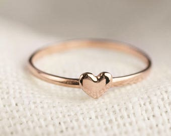 Rose gold mini heart ring, tiny heart ring, 14k gold dainty love ring, anniversary gift, love ring, Christmas, white gold ring, hea-r101
