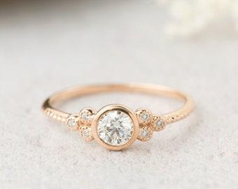 14k rose gold GIA certified 0.32ct Diamond Engagement Ring, F VS1, 3EX, Unique engagement ring, Brilliant Cut Diamond Ring, GIA 2267109866