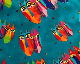 Laurel Burch Jungle Songs Fabric OOP Cat Faces on Teal