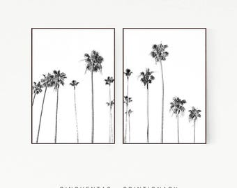 Set of 2 Prints Palm Trees Wall Decor Print Poster Tropical Beach Marine Art Landscape Black White Nature Sea Minimalist Banana Leaf 1010