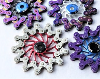 Metal Fidget Spinner: beautiful, balanced, quiet, extended spin. Unique hand crafted piece from upcycled bike parts & ceramic bearings