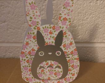 Floral Totoro Shaped Card Blank Inside