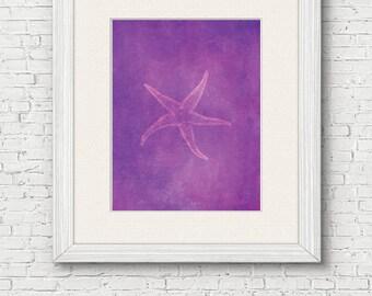 Starfish Beach Printable - digital download, beach house wall art, ocean life, violet, magenta, marine animals decor