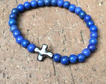cross bracelet blue beaded stone bracelet silver metal cross religious bracelet mens women's stretch bracelet bohemian jewelry