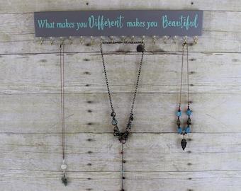 Necklace Storage, Necklace Hanger, Motivational Jewelry Organizer, Necklace Holder, Hanging Necklace Organizer, Wall Jewelry Hanger