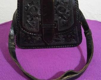 Vintage Mexican Tooled Black Leather Purse, El Vanado Brand, Mexico