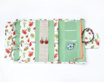Jewelry organizer, jewelry bag, jewelry roll, jewelry storage, earring organizer, travel jewelry case, pink flamingo, green, hawaii print