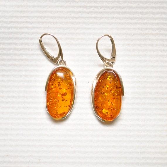 Sterling Silver Honey Amber Lever Back Earrings #9318