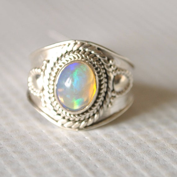 Sterling Silver Ethiopian Opal Ring Sz 8.5 #9799