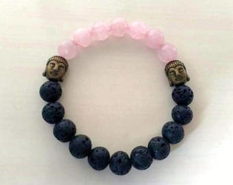 Rose Quartz Bronze Buddha Aromatherapy Essential Oil Stretch Bracelet