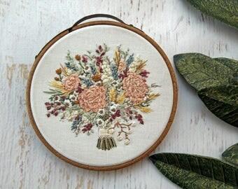 Flower Baby Mini Hoopling Floral Bouquet Embroidery Hoop Art - Detailed Pink Rose, Wildflowers, Flower on White - 4 Inch Vintage Hoop