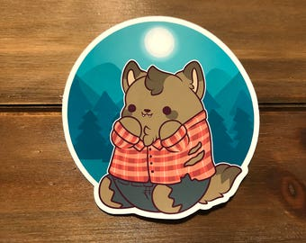 Kawaii Werewolf Sticker ( cute chibi stickers wolf halloween full moon )