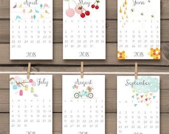 PRINTABLE 2018 & 2017 calendar 2018 Wall calendar Desk calendar 2018 Classroom school Calendar 4x6 Month year Digital download calendar DIY