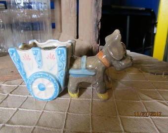 """Vintage Pottery Planter Japan - Hand Painted Puppy Dog Pulling a Flower Cart Wagon 5 1/2"""" Indoor Planter  1950's 1960's"""