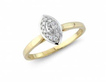 Vintage Halo Marquise Diamond Gold Ring