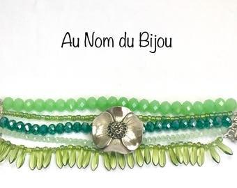 unique white bronze poppy anemone and Pearl multi strand Cuff Bracelet.