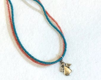 Made for an Angel ANKLET blue anklet beaded anklet stocking stuffer friend gift pink anklet pink beads going away gift