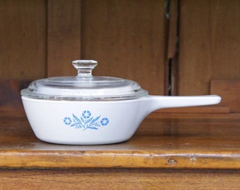Corning Ware ~ 1 pint/pt. ~ P-81-B ~ Blue Cornflower Sauce Pan and Lid ~ Covered Sauce Pan ~ 1960s ~ 2 cups