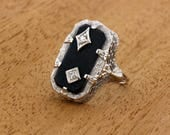 1920s Onyx and Diamond 14K Gold Ring