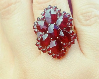 Victorian Garnet ring Antique Bohemian Garnets January Birthstone Jewelry Gift for her Statement ring Unique Engagement ring Jewelry gift
