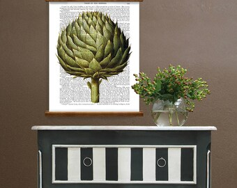 Botanical print - Artichoke Vegetable Print 2 - Food art Kitchen decor rustic Wall art for kitchen Country kitchen style Gardening gift