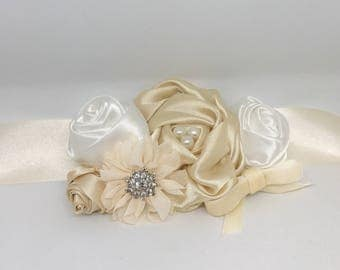 Champagne Ivory and WhiteWedding Flower Wreath Dog Collar with Velvet Rhinestones Flowers Pearls Wedding Sash