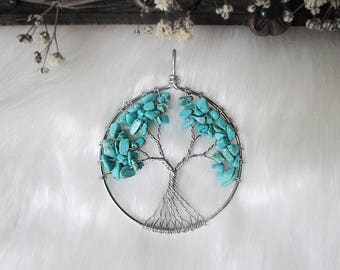Turquoise Tree of Life, Yggdrasil, World Tree, Chakra Necklace, Wisdom Tree Pendant