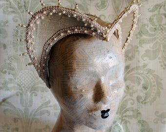 Tudors Inspired Headdress,Historical Renaissance Costume Headpiece,Attifet Hat in Beige-Custom-Made to Order