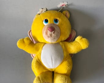 YELLOW WUZZLES PLUSH Toy, Hasbro Softies toy, vintage Wuzzles toy, yellow stuffed animal, Butterbear stuffed animal, Wuzzles stuffed bear