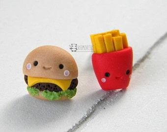 Burgers and fries, chips, kawaii, Stud earrings or dangle earrings