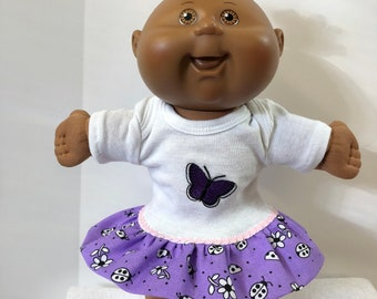 "Cabbage Patch 11 inch PREEMIE Doll Clothes, Cool PURPLE ""BUTTERFLY"" Ruffle & Trim Dress, Cabbage Patch Preemie Doll, 11 inch Preemie Baby"