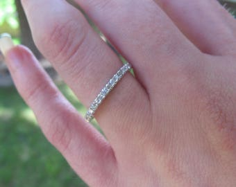 Silver Diamond Band Wedding Stacker Ring Stacking