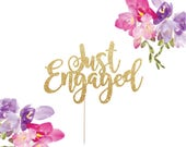 Engagement Cake Topper, Just Engaged Cake Topper, We're Engaged, Engaged Cake Topper, Engagement Party Decorations, Engaged AF, Glitter