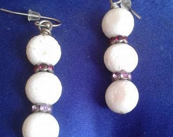 pretty earrings white coral and rhinestone.