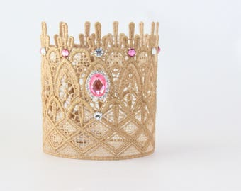 Gold + Pink First Birthday Crown - Emma - Birthday Crown - Bling - Cake Smash - Photography Prop - Mini